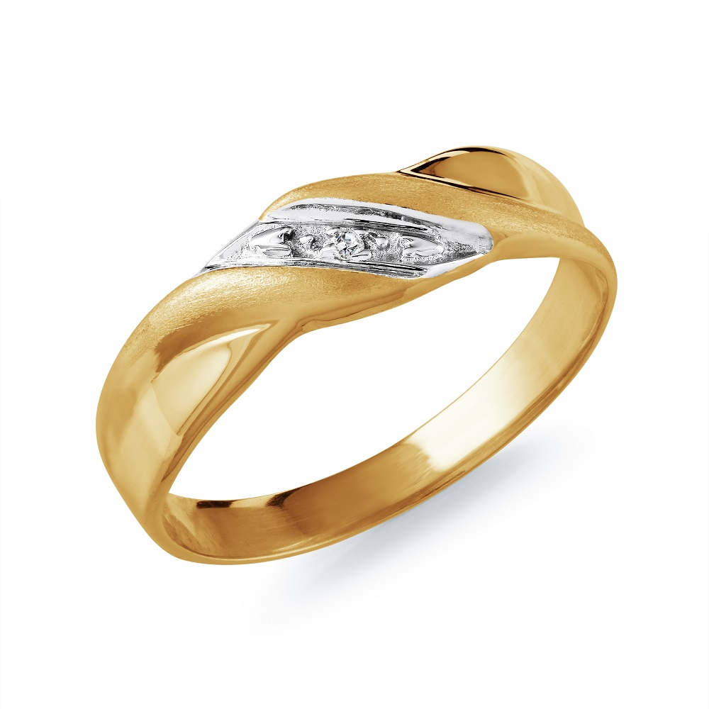Band for man - 10K yellow Gold & Diamond