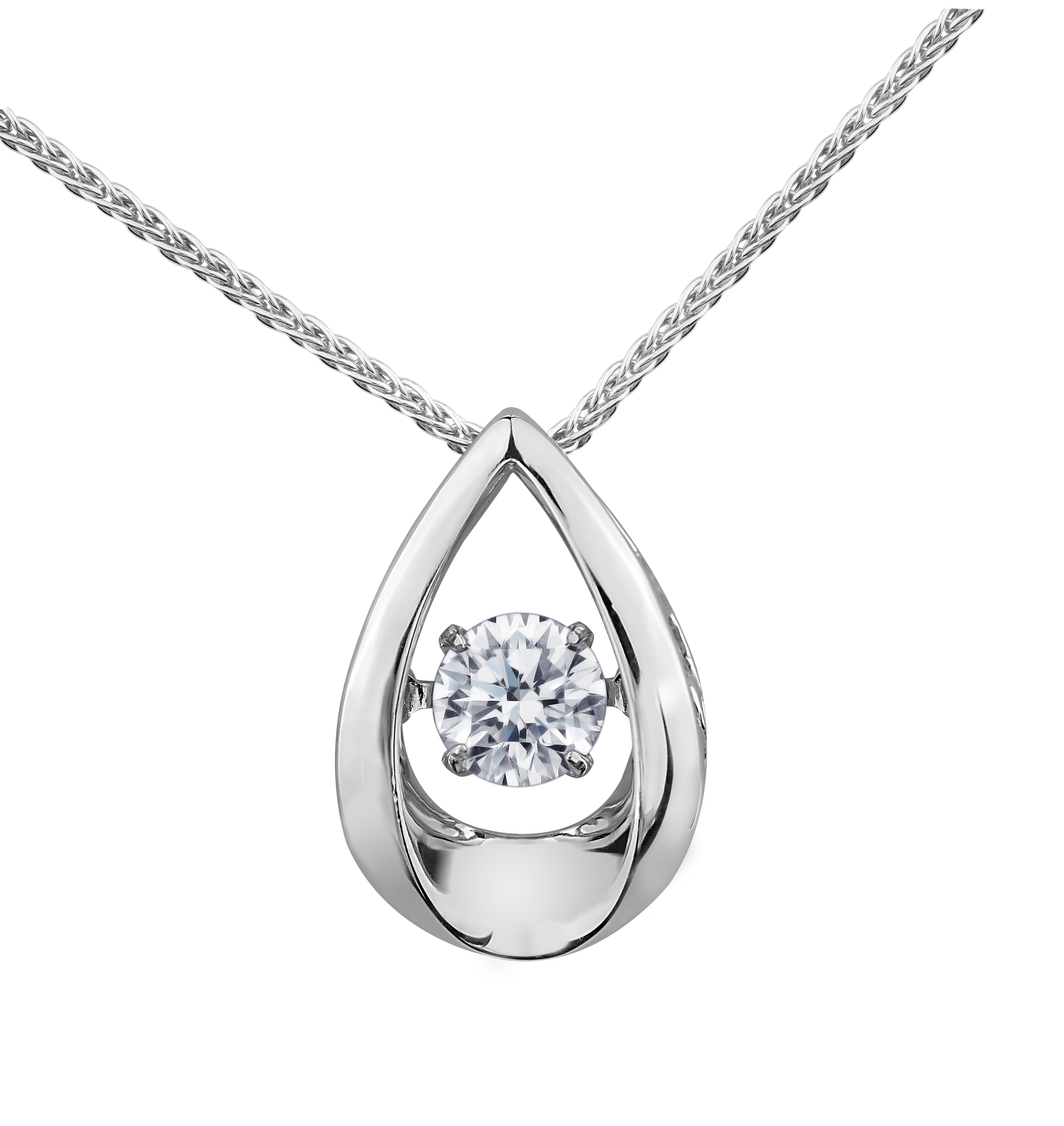 Pendentif -  Or blanc 10K & Diamants Canadien totalisant 0.05 Carat