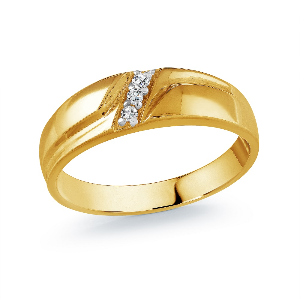 Band for man - 10K yellow Gold & Diamonds
