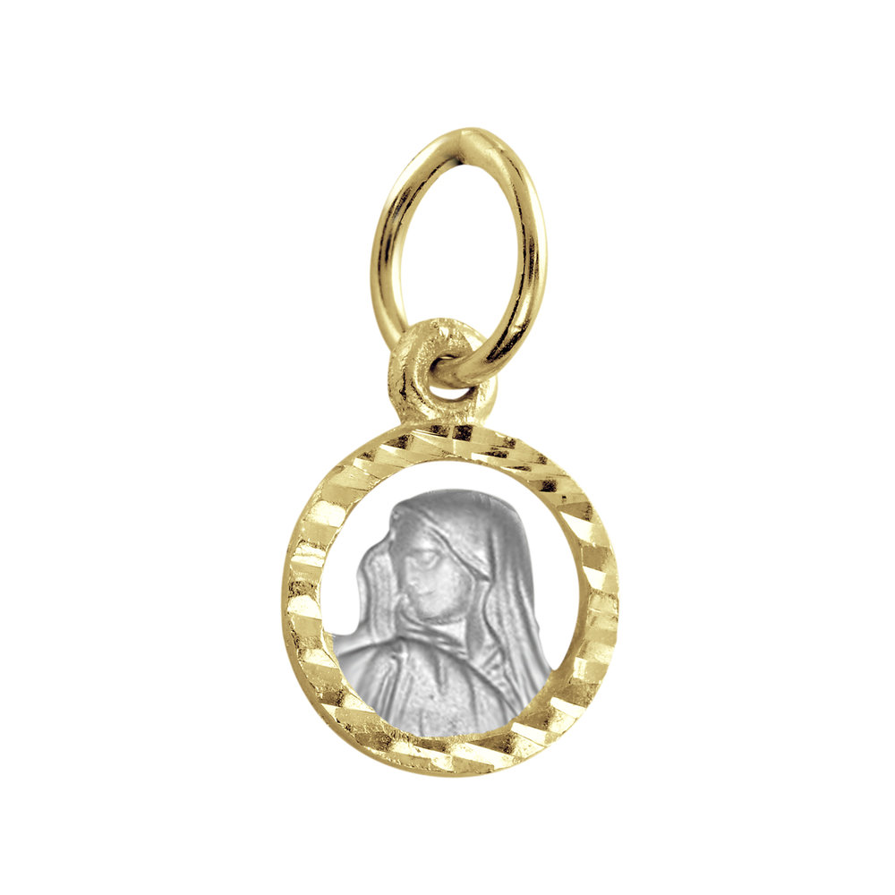 Mini-Madonna pendant for children - 10K 2-Tone Gold (yellow and white)