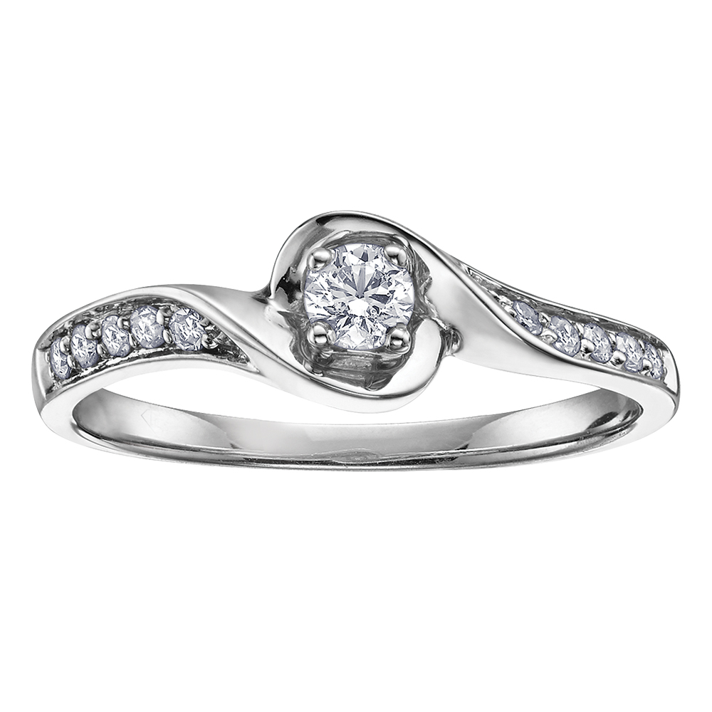 Éclat du Nord engagement ring for woman - 10K white Gold & Canadian Diamonds