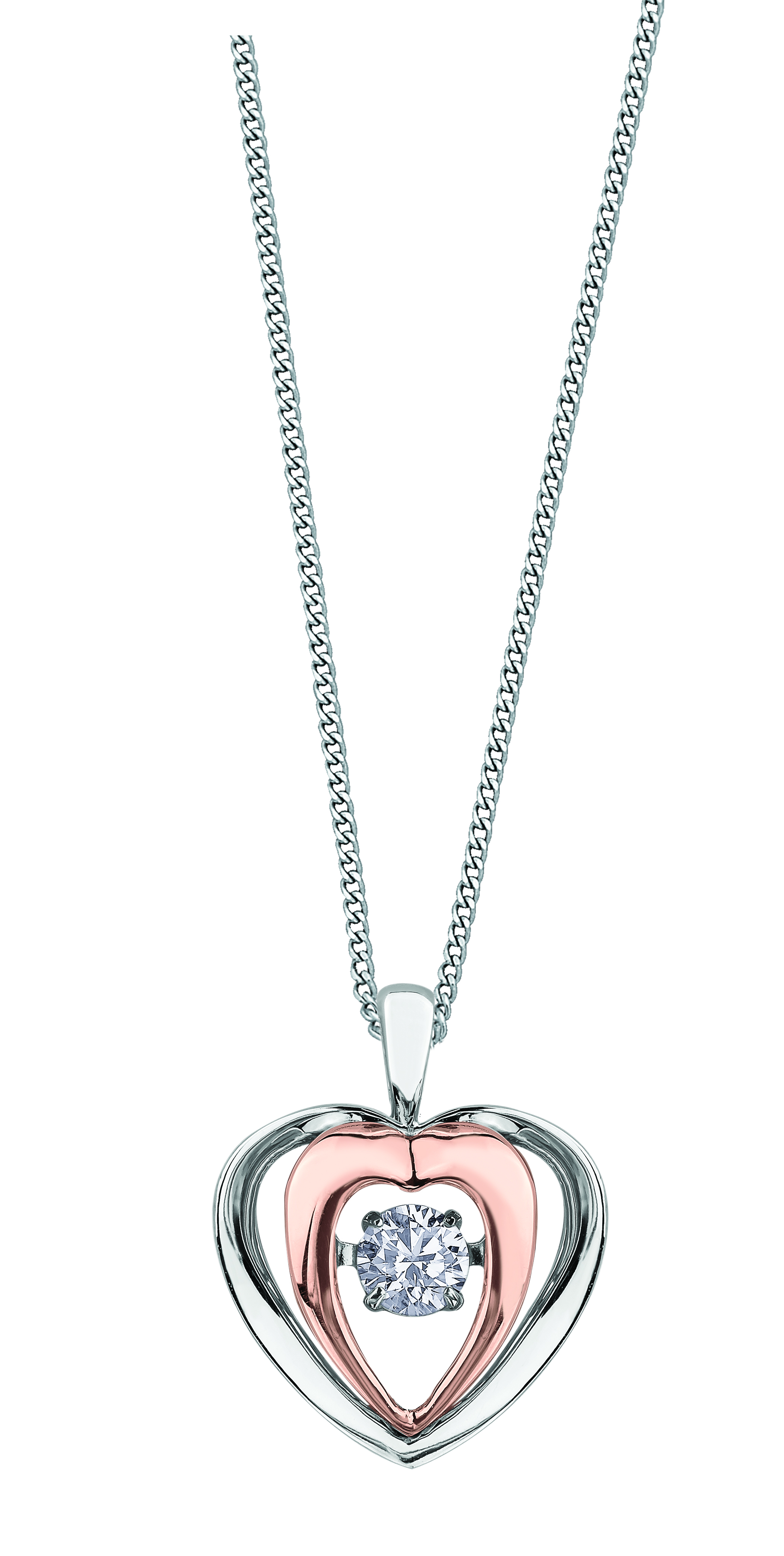 Pendentif - Or 2-tons 10K (rose et blanc)  & Diamants Canadien totalisant 0.09 Carat