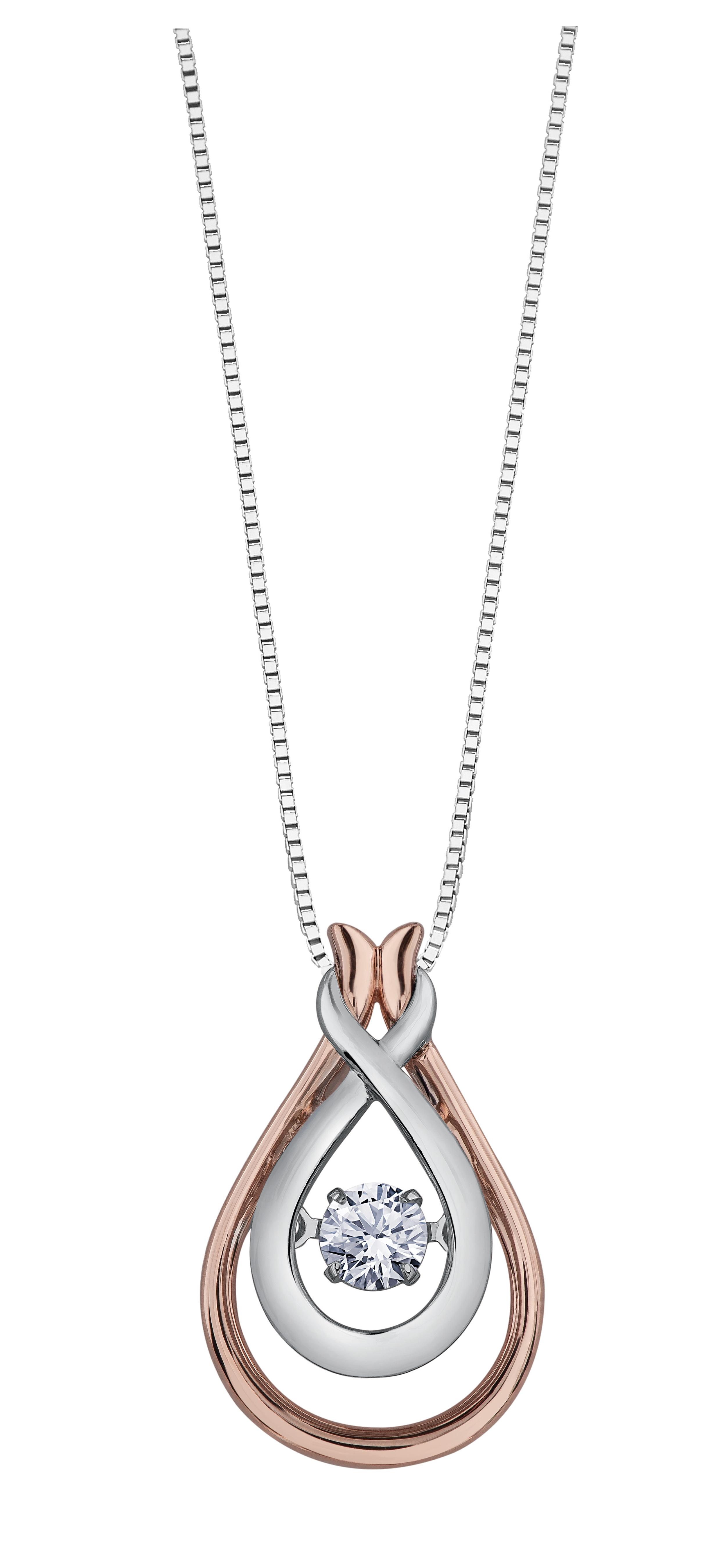 Pendentif - Or 2-tons 10K (rose et blanc) & Diamant Canadien totalisant 0.17 Carat