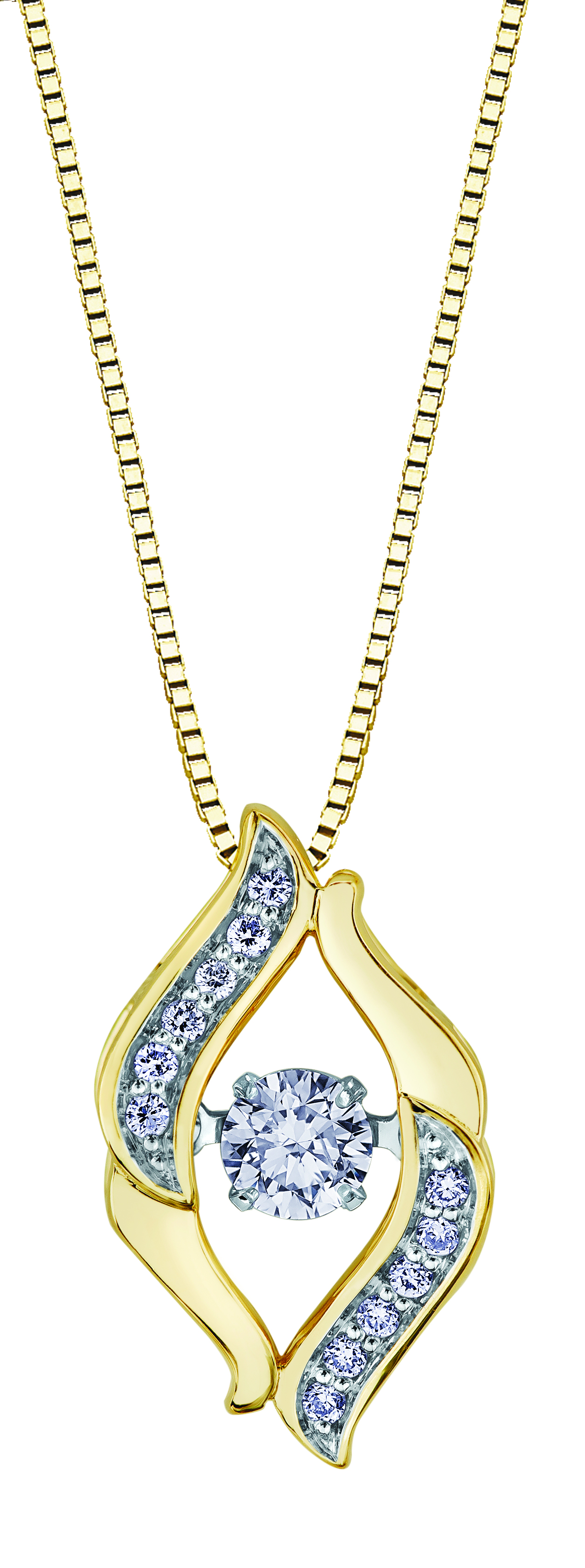 Pendentif - Or 2-tons 10K (jaune et blanc) & Diamants Canadiens totalisant 0.22 Carat