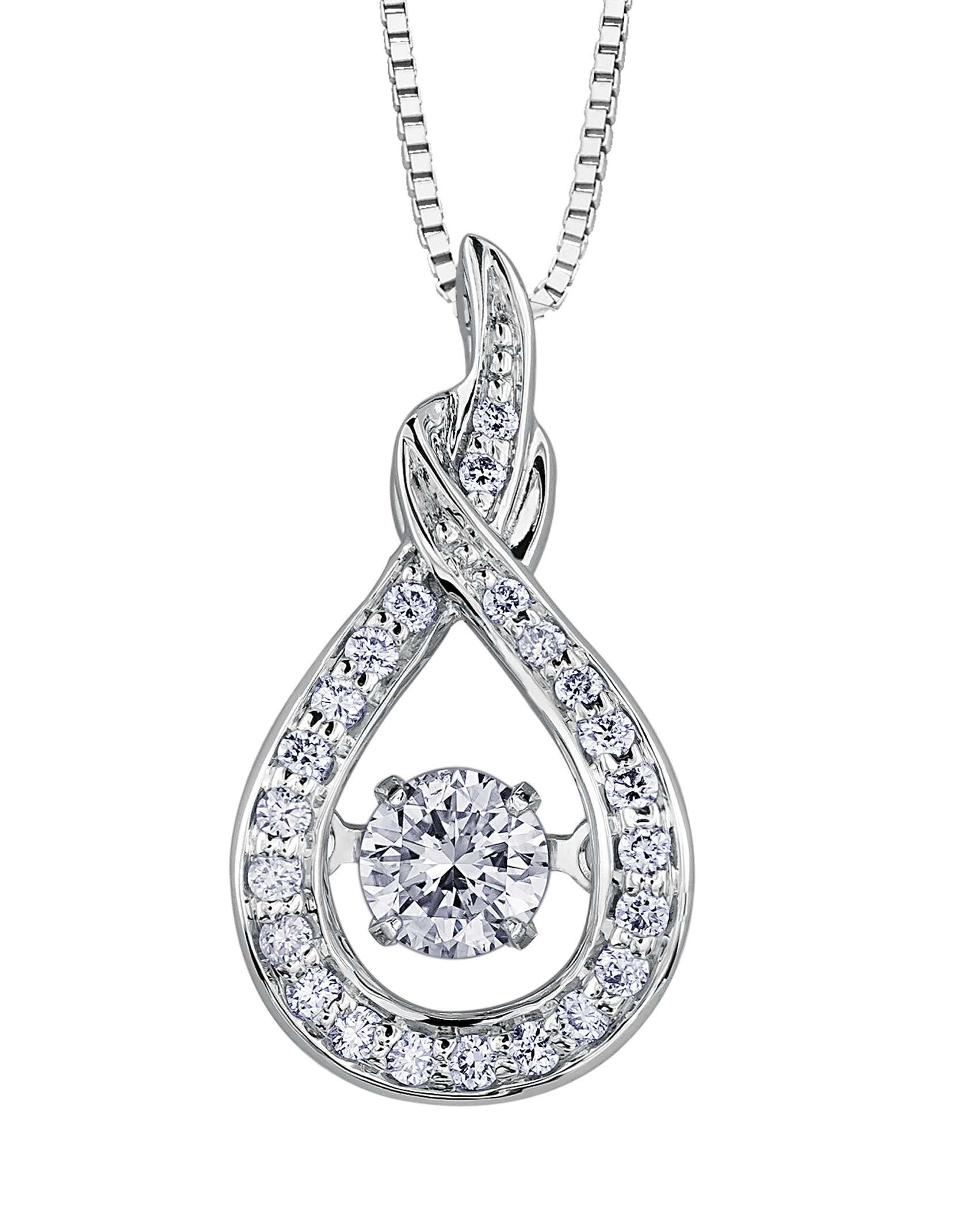 Pendentif - Or blanc 10K & Diamants Canadiens totalisant 0.18 Carat
