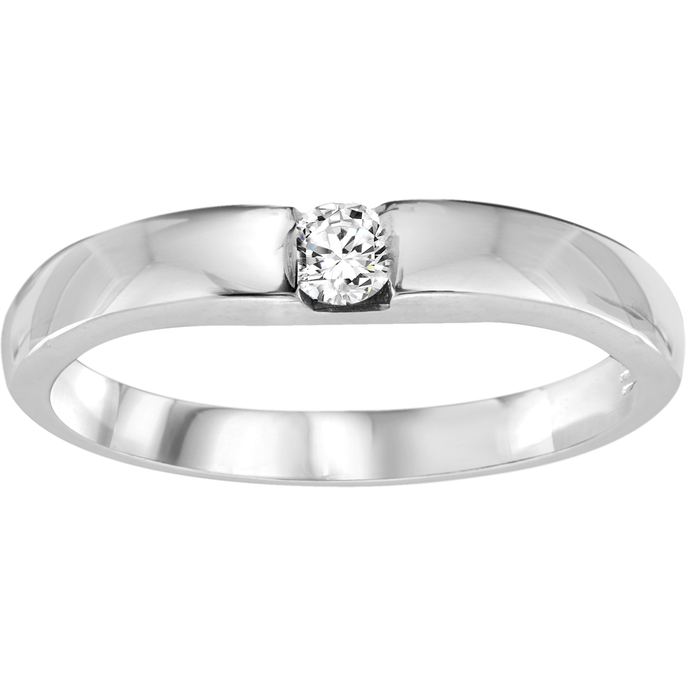 Jonc pour femme - Or blanc 10K & Diamant