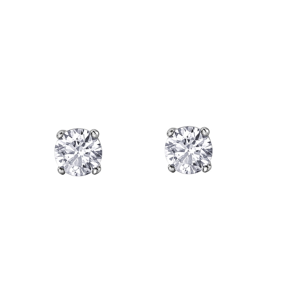 Stud earrings - 10K white Gold & Canadian diamonds T.W. 15 pts.