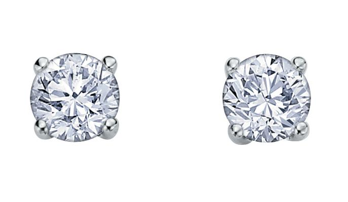 Stud earrings - 10K white Gold & Canadian diamonds  0.25 Carat T.W.