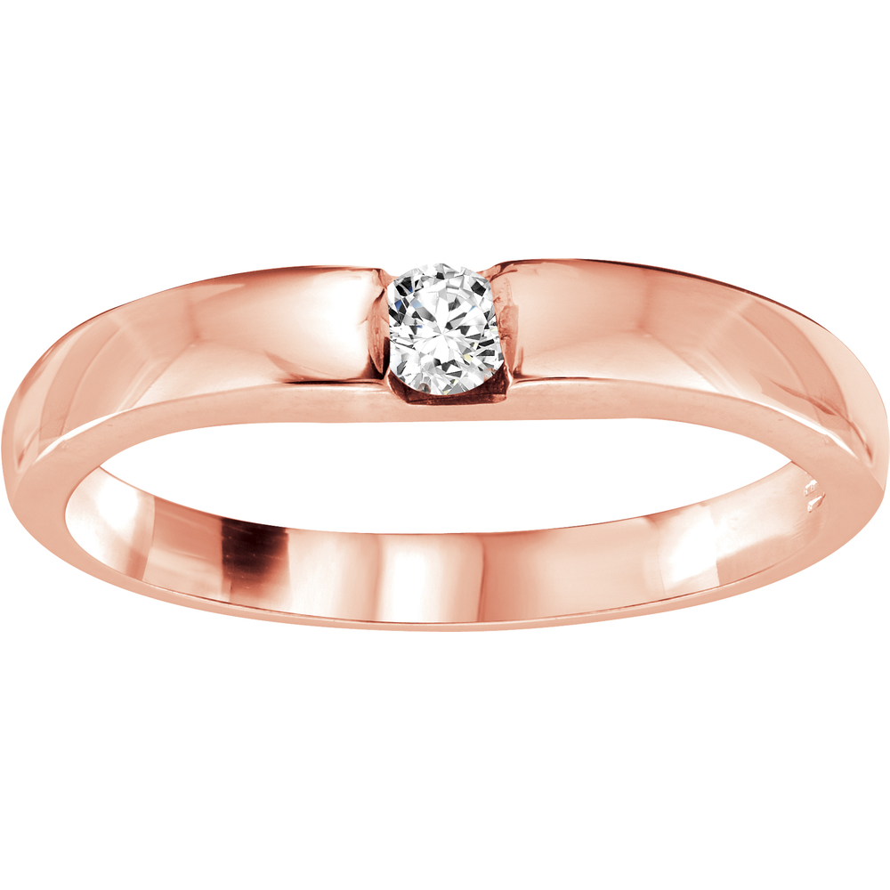 Band for woman - 10K rose Gold & Diamond