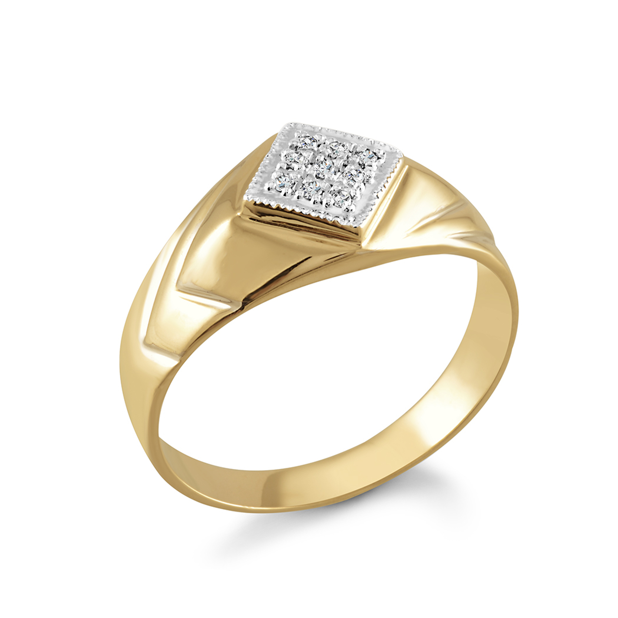 Bague pour homme - Or jaune 10K & Diamants totalisant 5 pts
