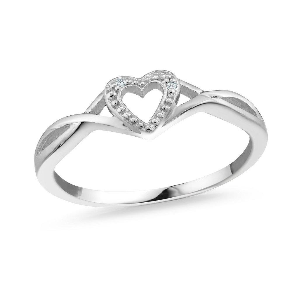 Bague coeur pour femme - Or blanc 10K & Diamants