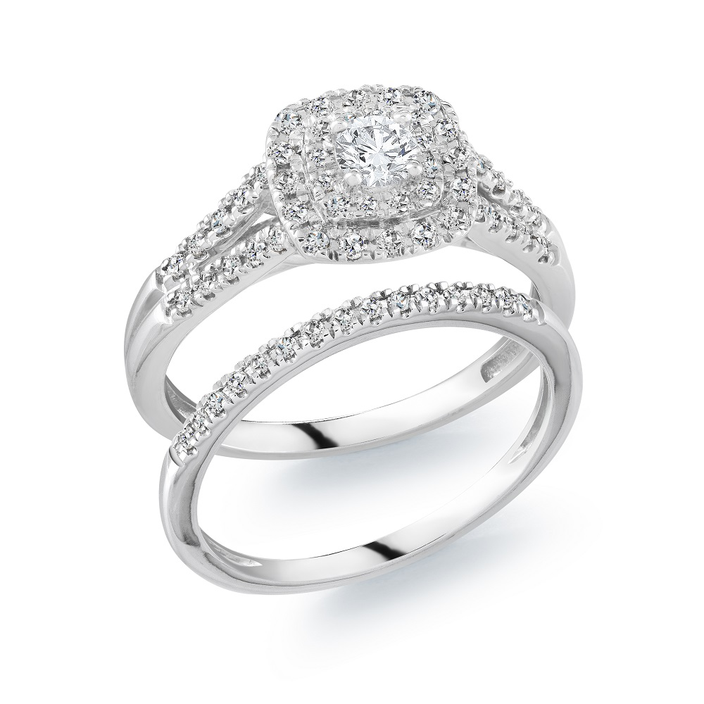 Engagement set for woman - 10K white Gold & Diamonds