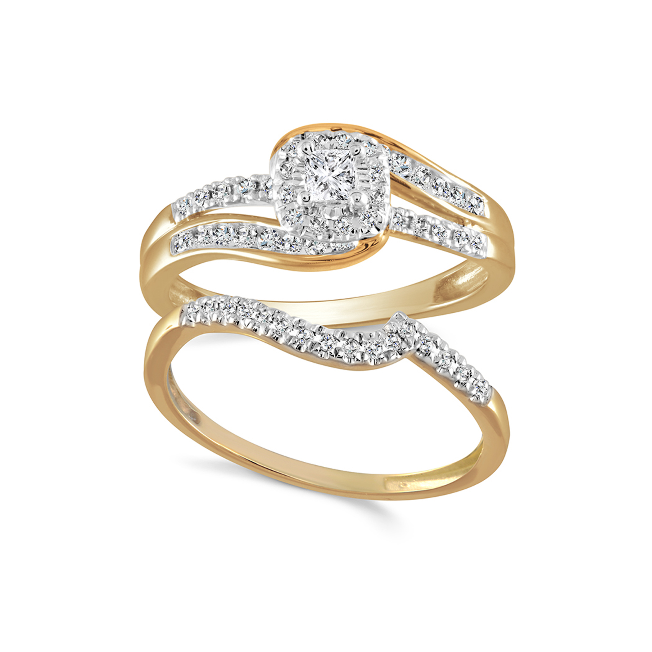 Engagement ring and wedding band set - 10K yellow Gold & Diamonds 0.50 Carat T.W.
