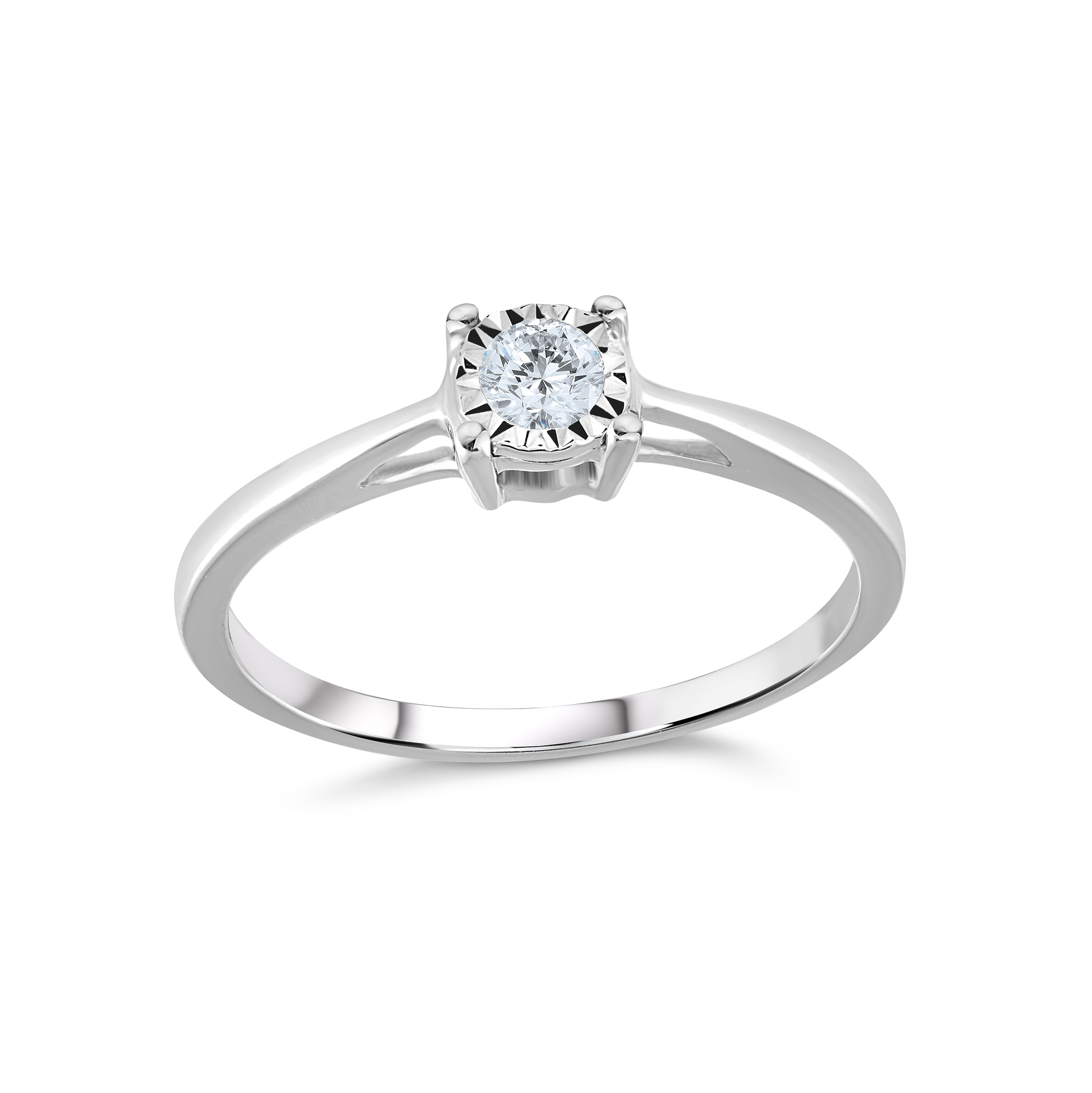 Engagement ring - 10K white Gold & Solitaire diamond 0.15 Carat T.W.