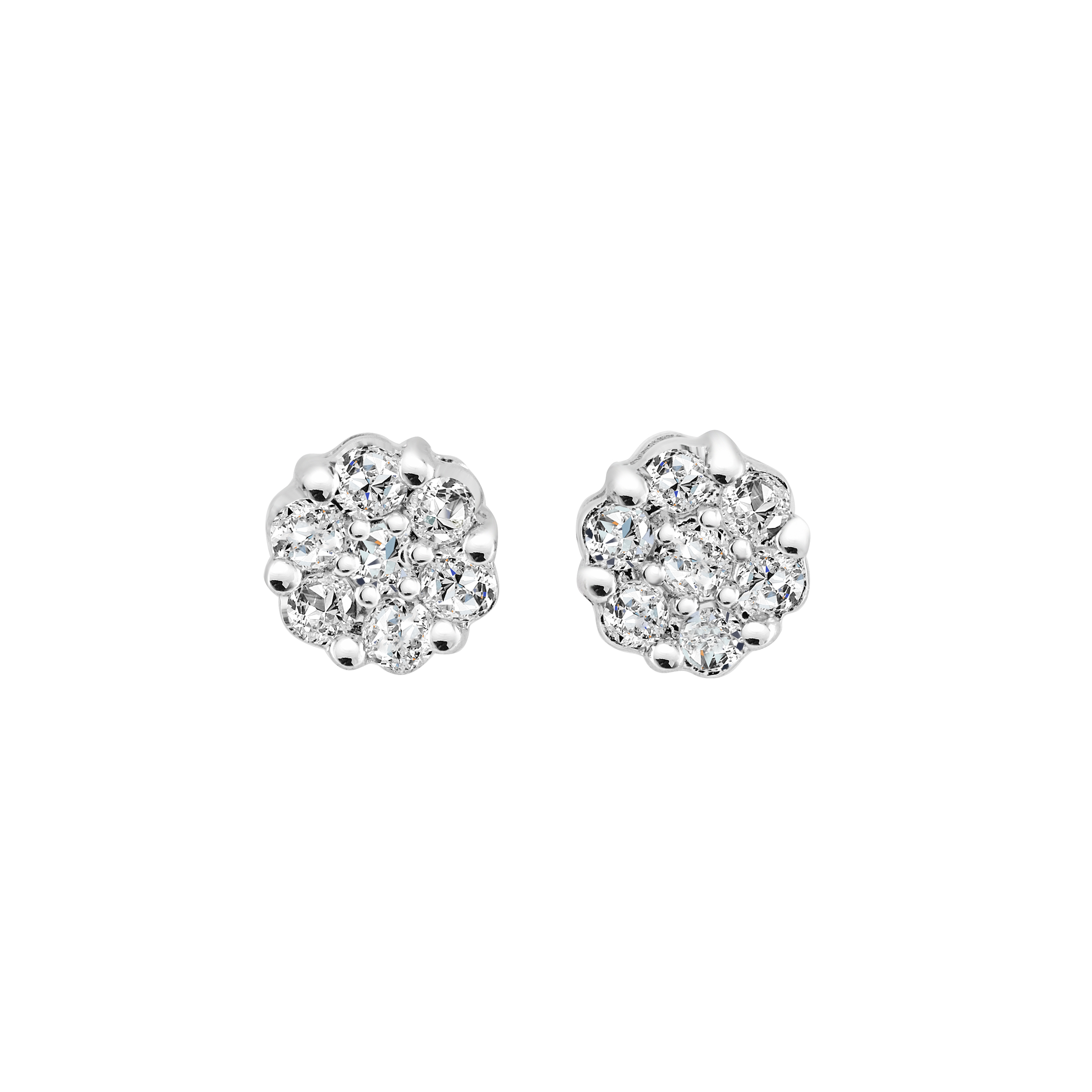 Boucles d'oreilles fixes - Or blanc 14K & Diamants totalisant 15pts.