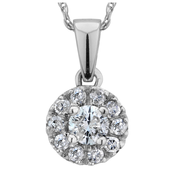 Diamond pendant 0.15 Carats T.W. Clarity:I Color:GH - in 14K white Gold