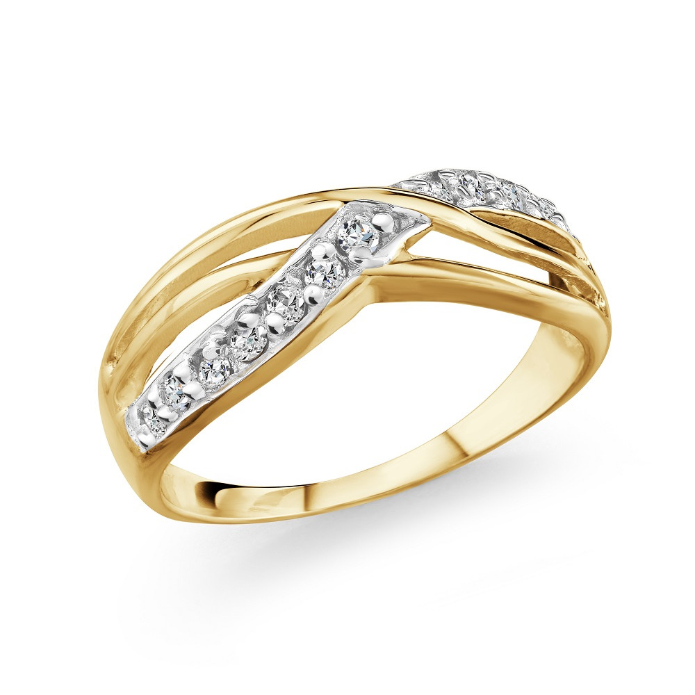 Half-eternity anniversary ring for woman - 10K yellow Gold & Diamonds