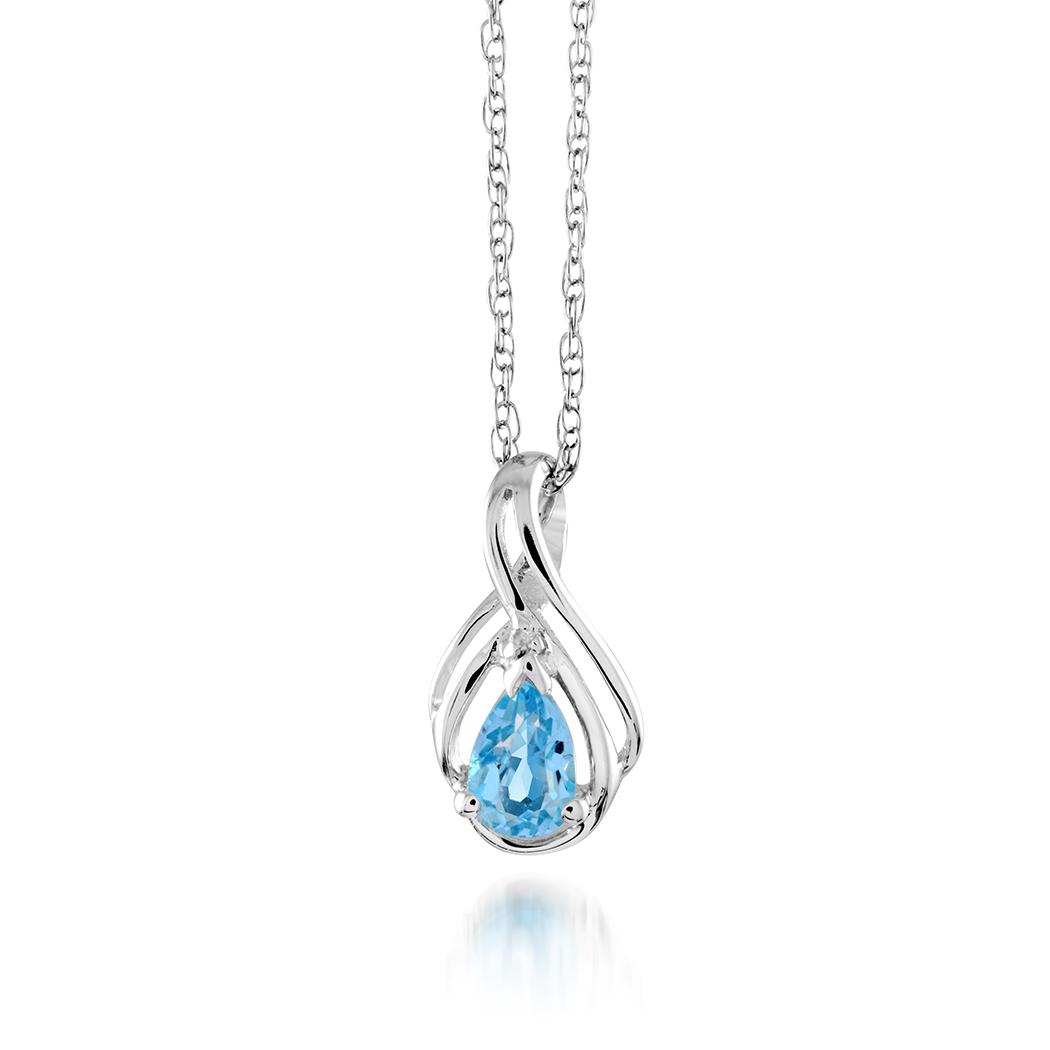Pendentif en argent sterling serti d'un topaze bleu de laboratoire et d'une touche de diamant - Chaîne incluse