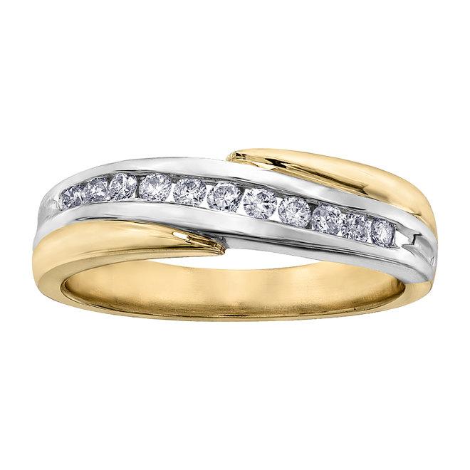 Jonc anniversaire semi-éternité - Or 2-tons 10K (jaune et blanc) & Diamants totalisant 0.20 Carat