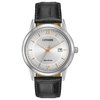 Eco-Drive watch for men - Silver dial with mineral crystal & Genuine black leather band