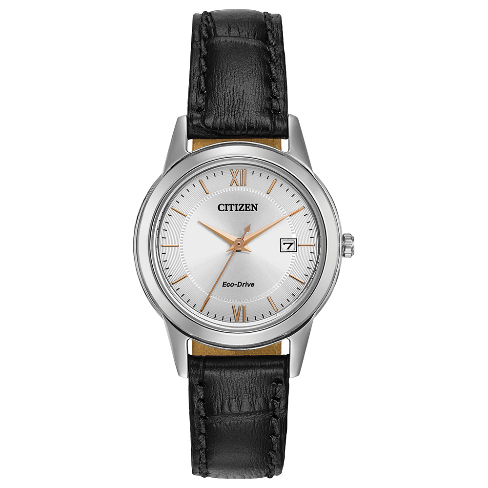 Eco-Drive watch for women - Silver dial with mineral crystal - Genuine black leather band