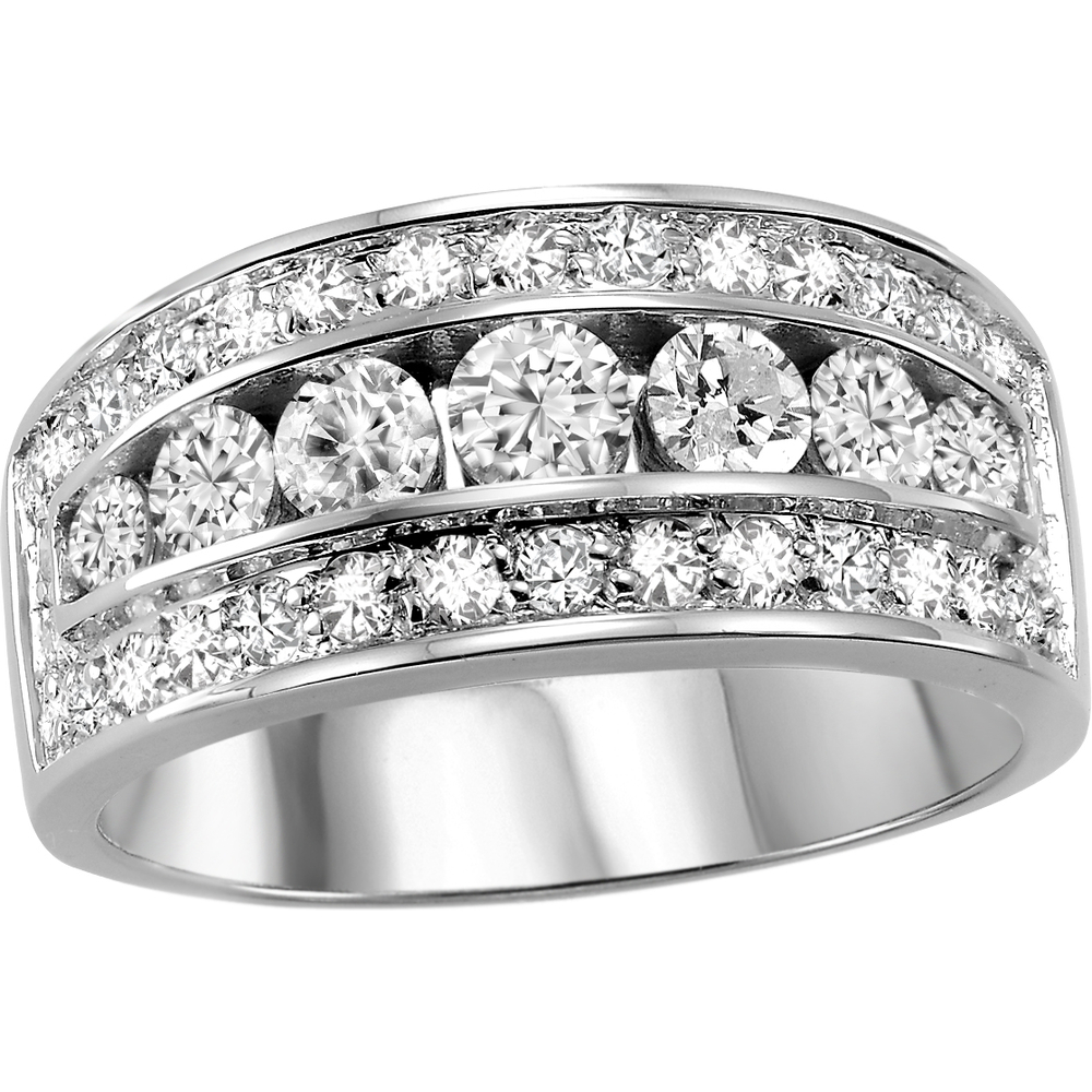 Bague anniversaire - Or blanc 14K & Diamants totalisant 1.00 Carat