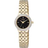 watch  with quartz movement for women - Black dial & Bezel set with Swarovski crystals
