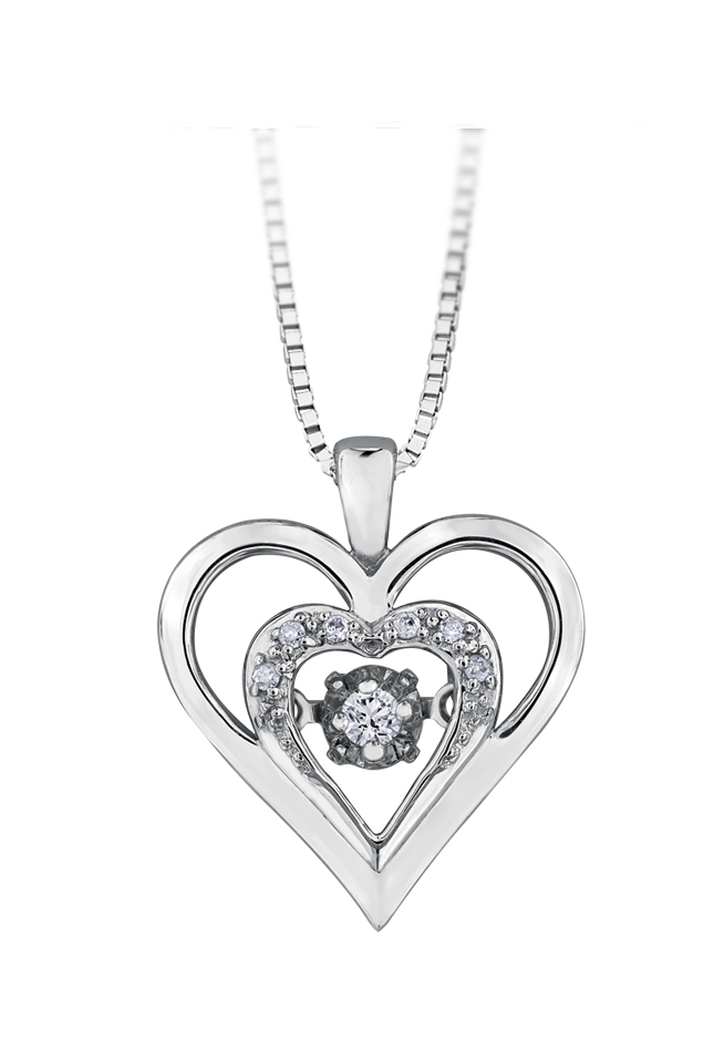 Dancing heart pendant in sterling silver set with diamonds 0.05 Carats T.W. - Chain included