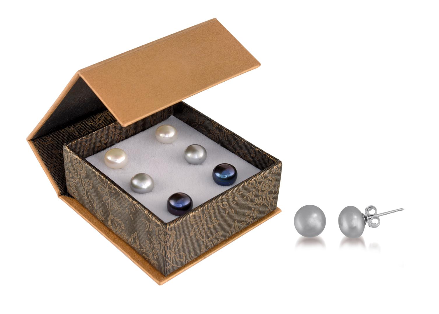 Ensemble de boucles d'oreilles perles d'eau douce (3 paires) - Tiges en argent sterling