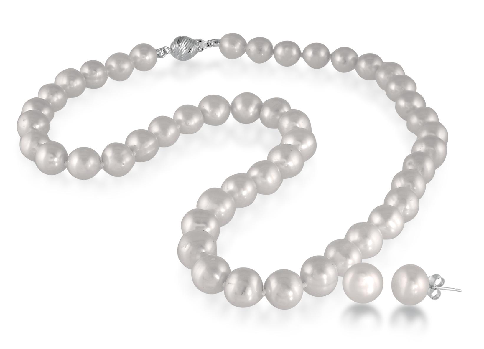 Ensemble collier (18 pouces) et boucles d'oreilles perles de 8-9mm - Tiges et fermoir en argent sterling