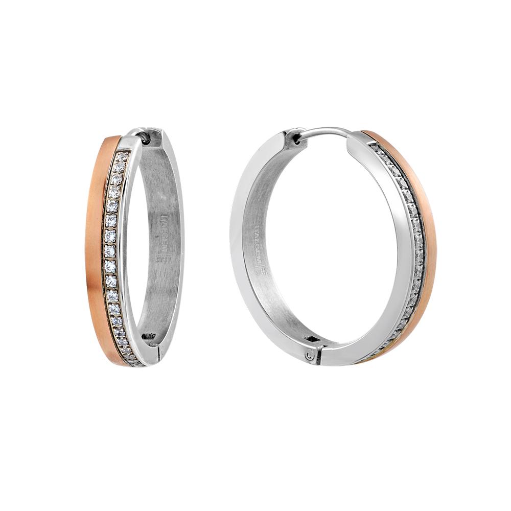 Boucles d'oreilles anneaux - Acier inoxydable 2-tons & Zircons cubiques
