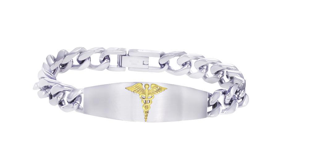 Medical bracelet for men - 2-tone stainless steel