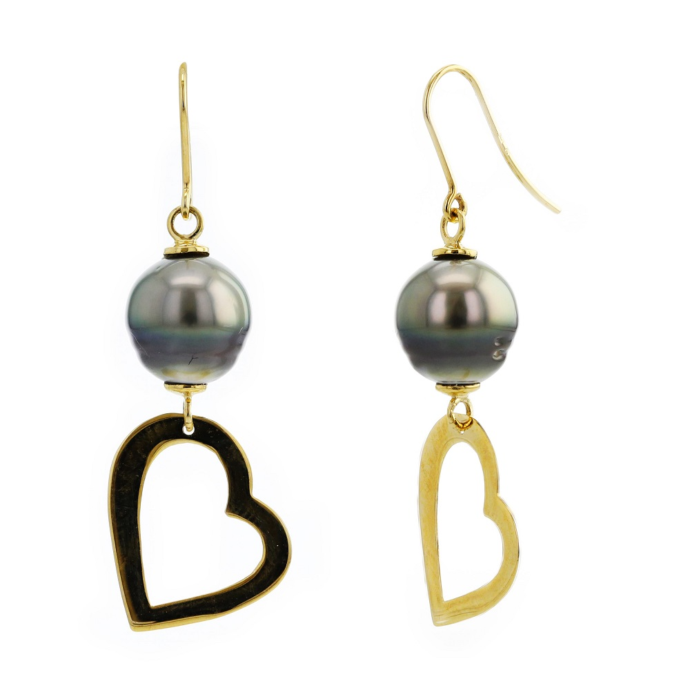 Dangling heart earrings set with grade AA tahitian pearls(8mm) - in 10K yellow gold