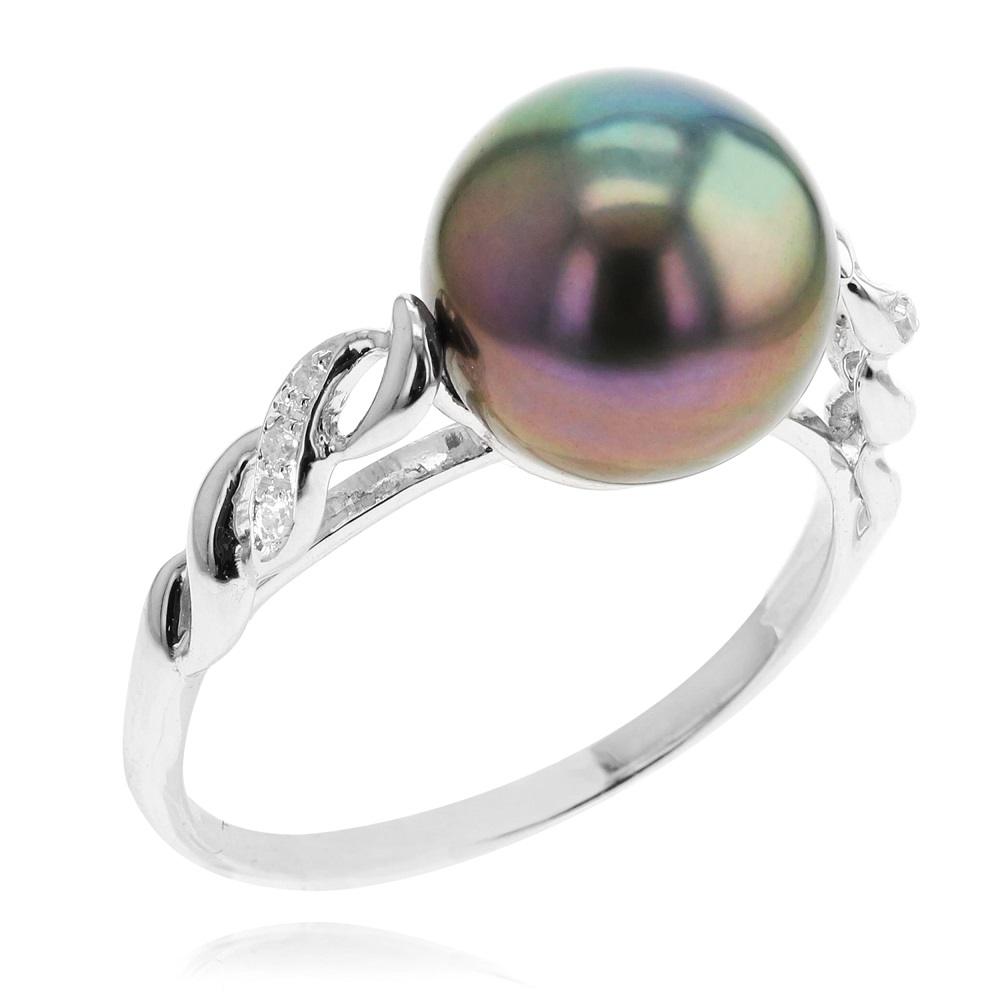 Ring set with a grade AA tahitian pearl & diamonds - in 10K white gold