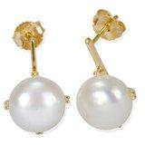 Boucles d'oreilles pendantes à tiges fixes serties de perles d'eau douce de qualité AA - en or jaune 10K