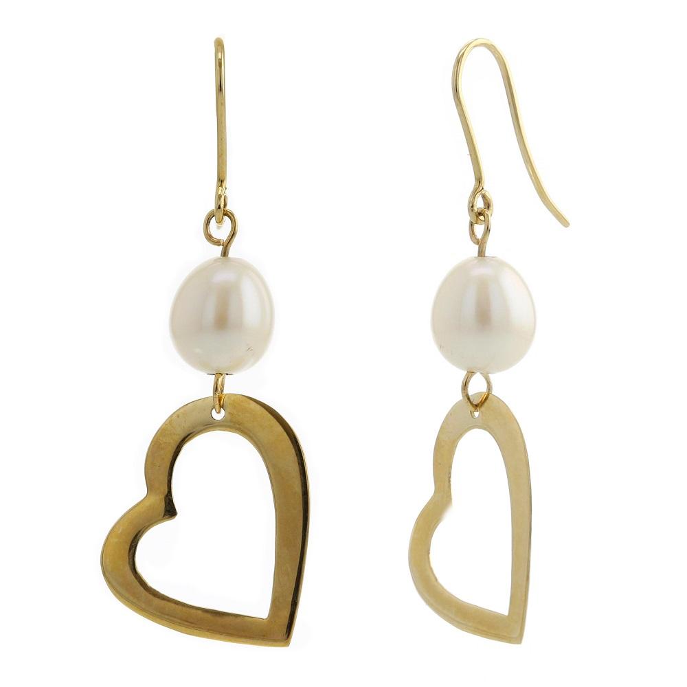 Boucles d'oreilles pendantes coeurs serties de perles d'eau douce de qualité AA - en or jaune 10K