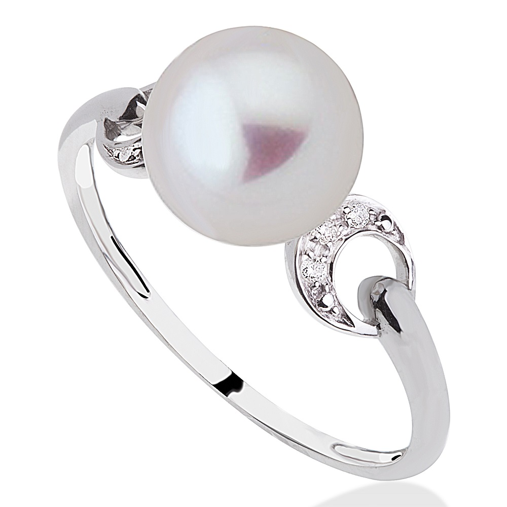 Ring set with a grade AA fresh water pearl(8mm) & diamonds - in 10K white gold