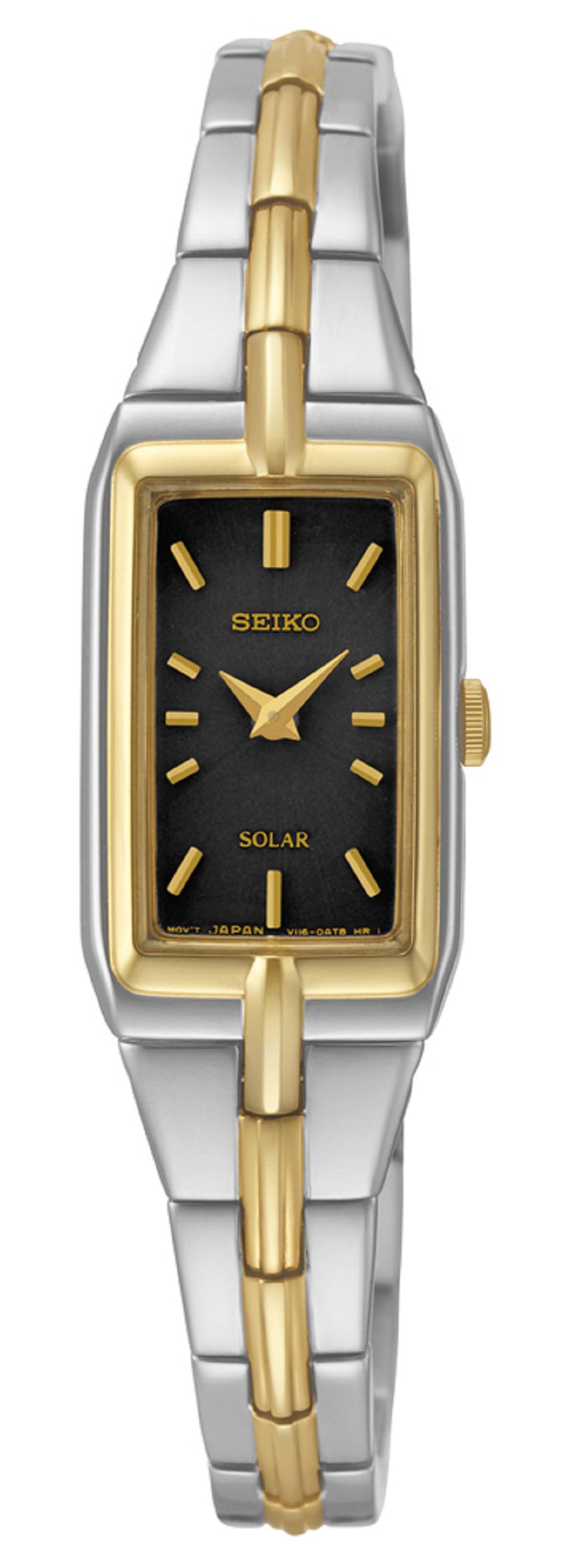 Montre solaire Seiko pour femmes - Cadran noir & bracelet plaqué or