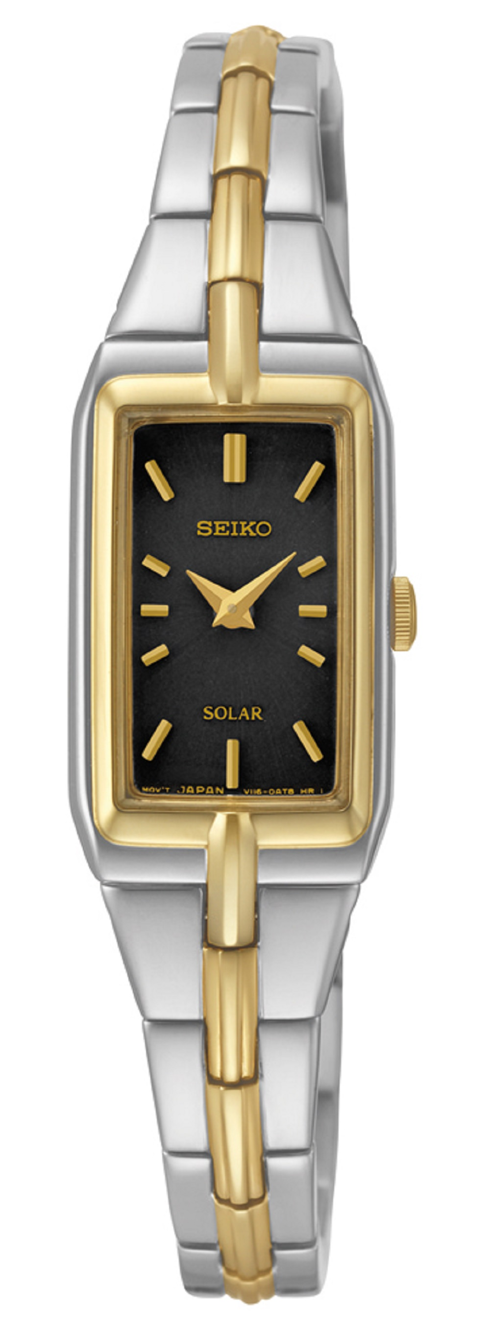solar watch for women - Black dial & Gold plated bracelet