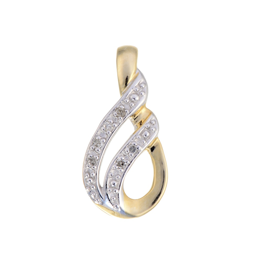 Pendentif serti d'une touche de diamant - en or jaune 10K - Chaîne incluse