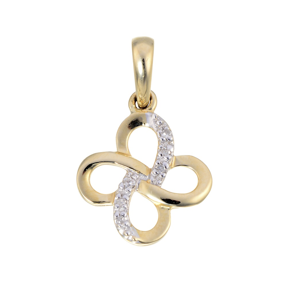 Clover pendant set with a touch of diamond - in 10K yellow gold