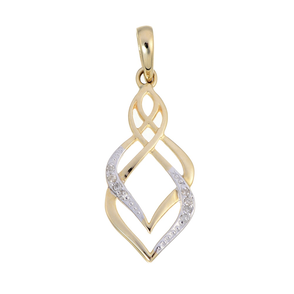 Pendant set with a touch of diamond - in 10K yellow gold - Chain included