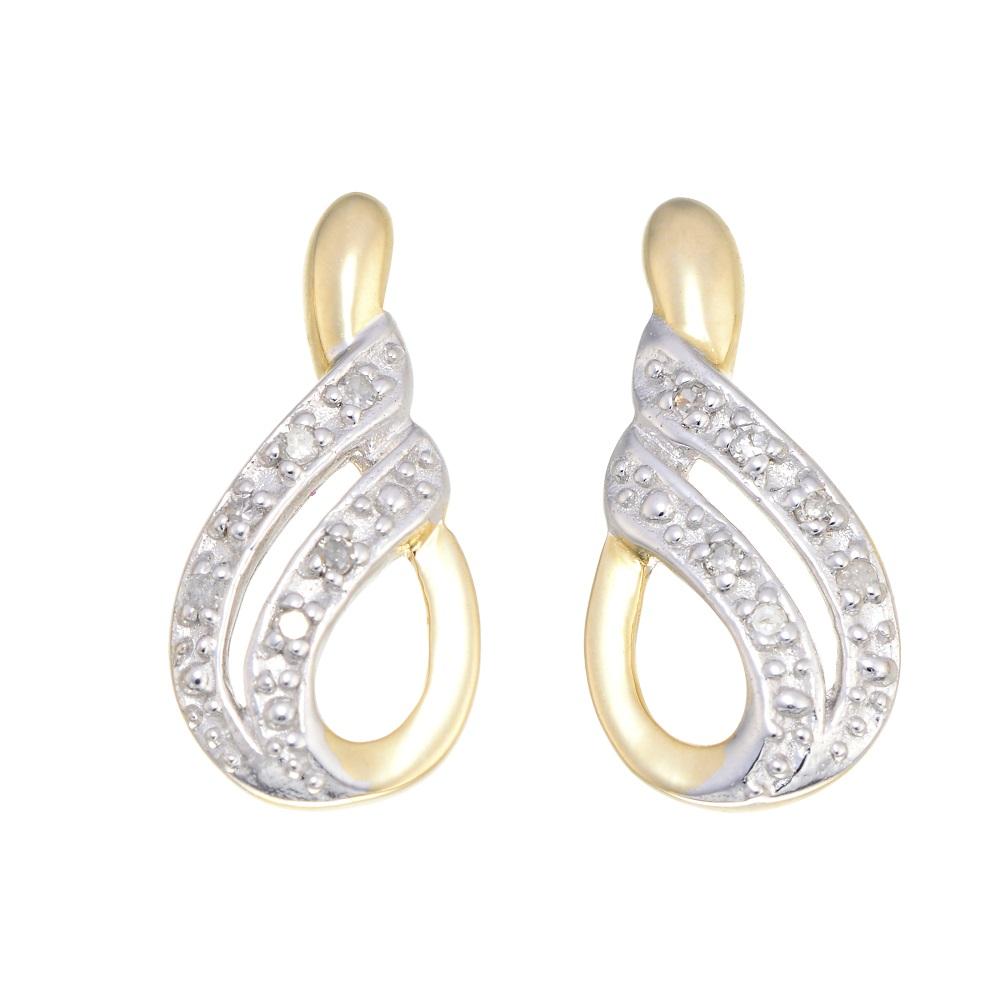 Boucles d'oreilles pendantes à tiges fixes - Or jaune 10K &Diamants