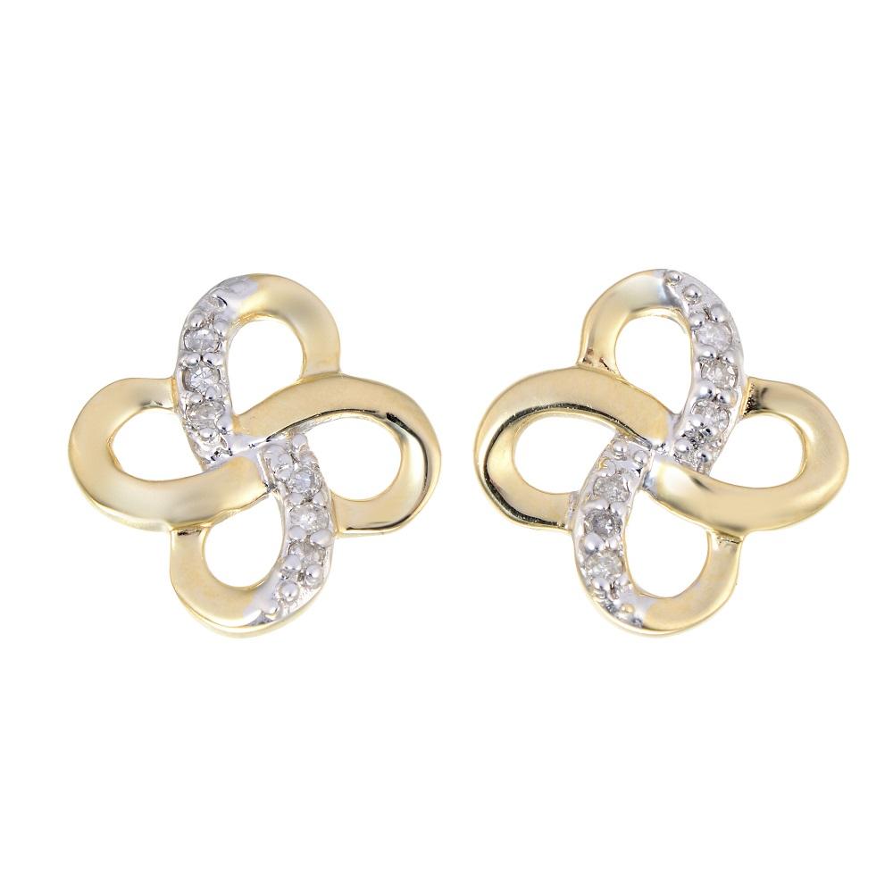 Boucles d'oreilles trèfles à tiges fixes -Or jaune 10K&Diamants