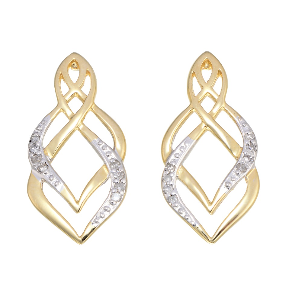 Boucles d'oreilles pendantes à tiges fixes - Or jaune 10K & Diamants totalisant 0.05 Carat