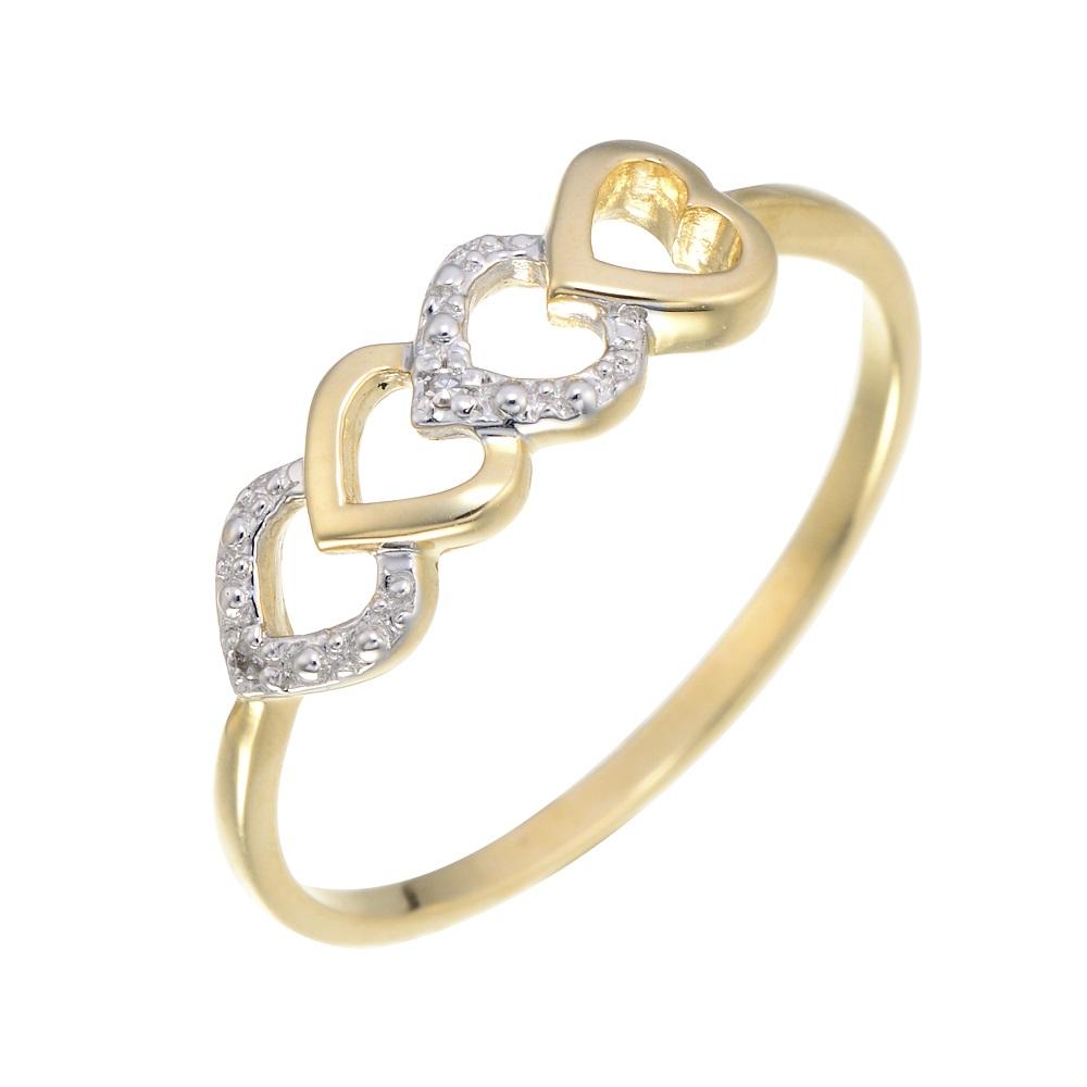 Bague coeurs sertie d'une touche de diamant - en or jaune 10K