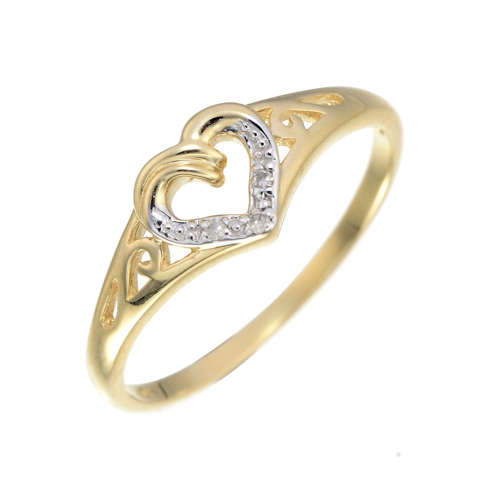 Heart ring set with a touch of diamond - in 10K yellow gold