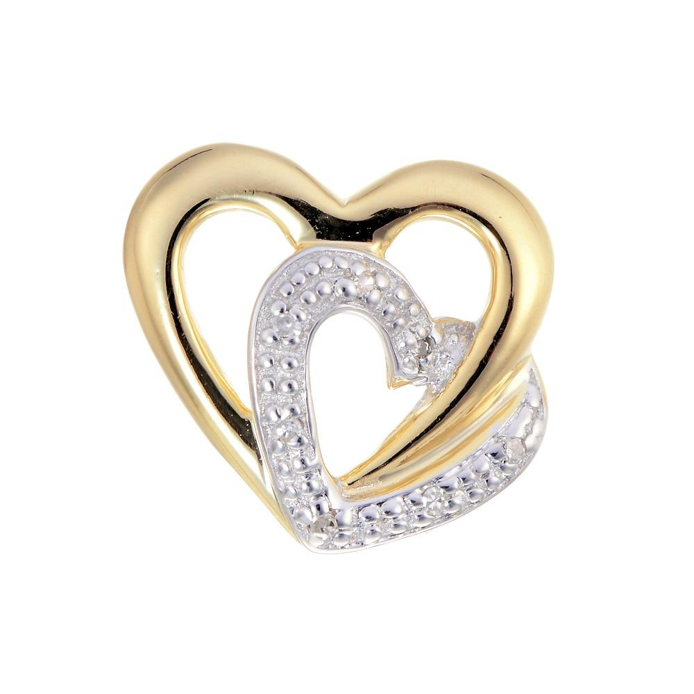 Pendentif coeurs serti d'une touche de diamant - en or jaune 10K - Chaîne incluse