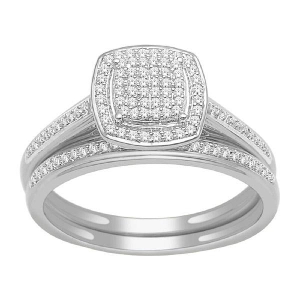 Engagement ring and wedding band set - 10K white Gold & Diamonds 0.25 Carat T.W.