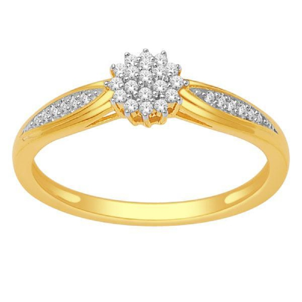 Bague pour femme - Or jaune 10K & Diamants totalisant 0.15 Carat